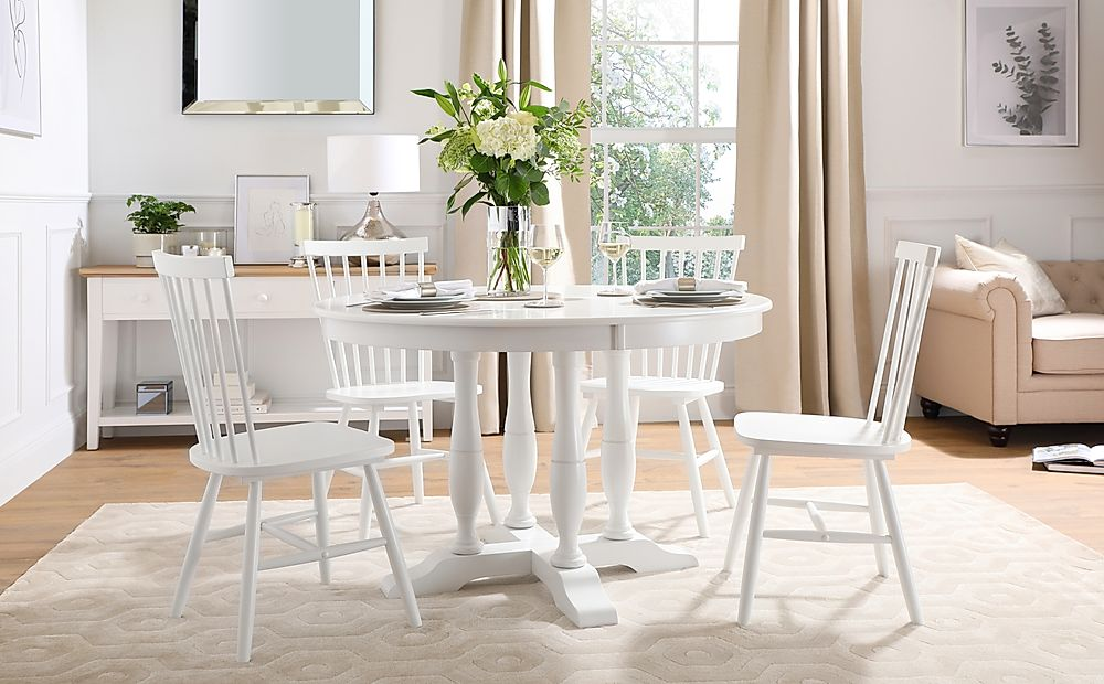 Highgrove Round White Wood Dining Table with 4 Pendle Chairs
