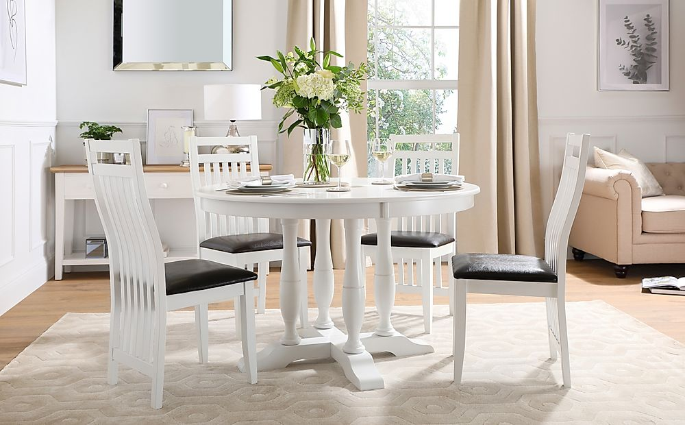 Highgrove Round White Wood Dining Table with 4 Java Chairs (Black Leather Seat Pad)