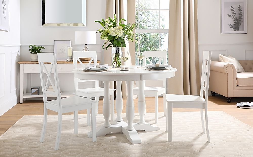 Highgrove Round White Wood Dining Table with 4 Kendal Chairs
