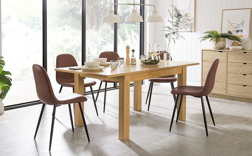 Hamilton 120-170cm Oak Extending Dining Table with 4 Brooklyn Tan Leather Chairs