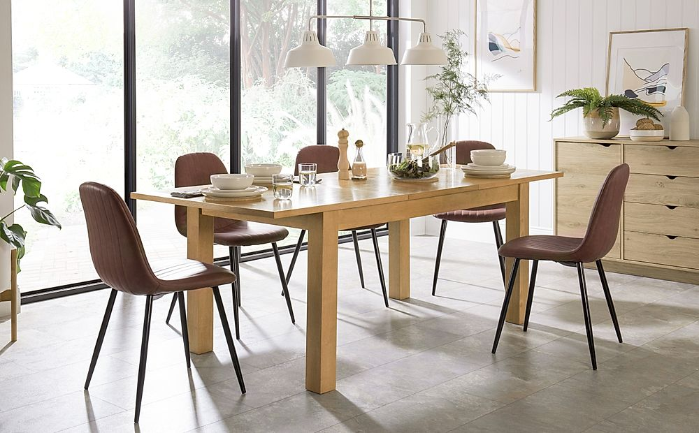 Hamilton 150-200cm Oak Extending Dining Table with 4 Brooklyn Tan Leather Chairs