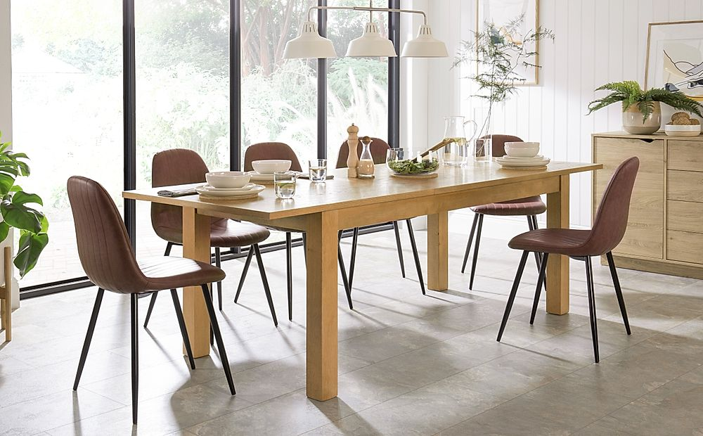 Hamilton 180-230cm Oak Extending Dining Table with 4 Brooklyn Tan Leather Chairs