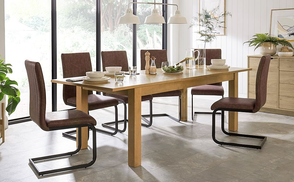 Hamilton Oak 180-230cm Extending Dining Table with 6 Perth Tan Leather Chairs