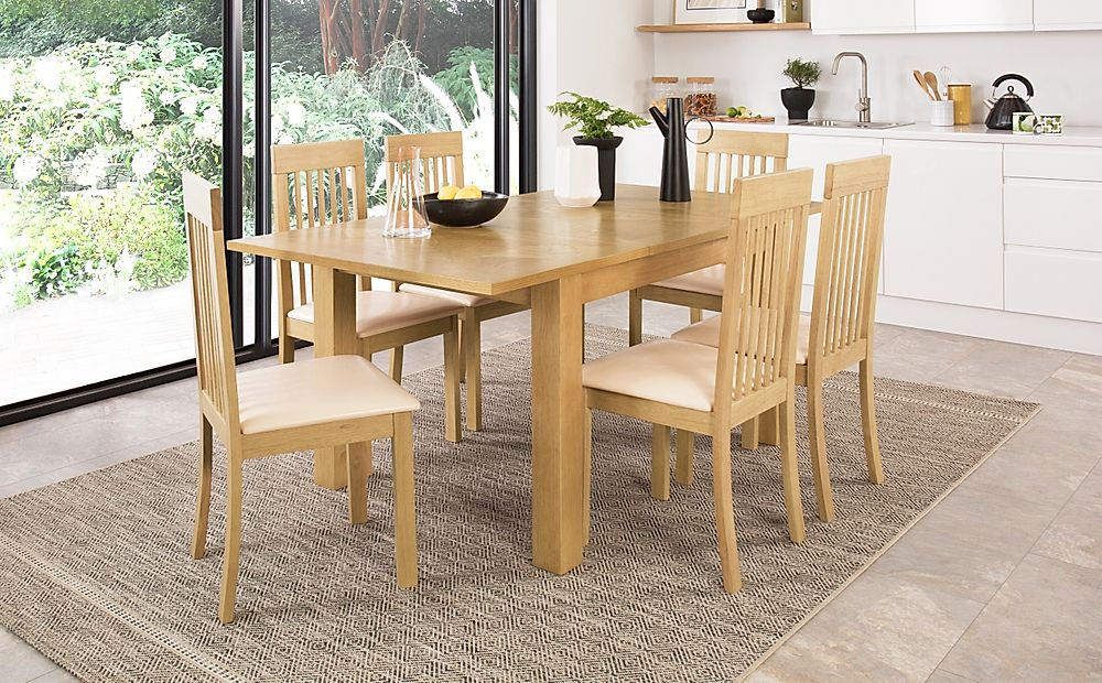 Madison 120-170cm Oak Extending Dining Table with 4 Oxford Chairs (Ivory Leather Seat Pad)