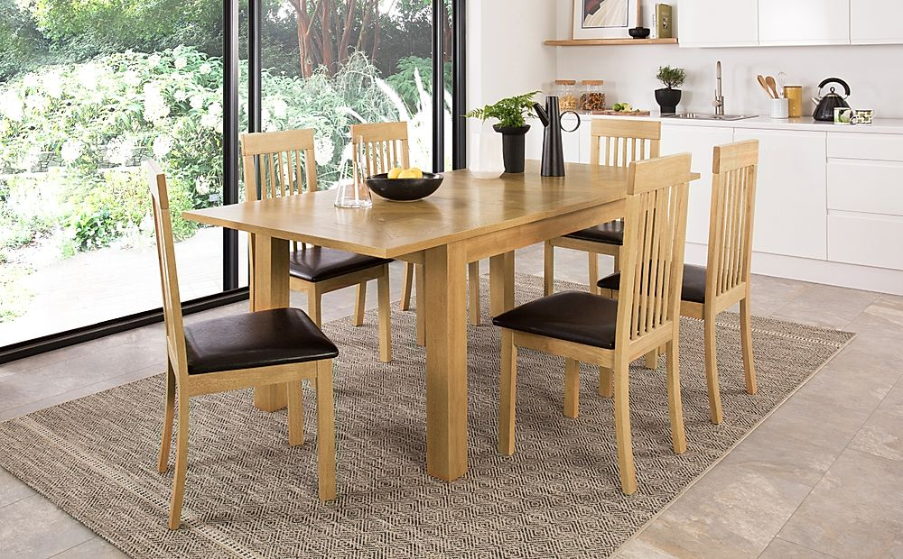 Madison 150-200cm Oak Extending Dining Table with 4 Oxford Chairs (Brown Leather Seat Pad)
