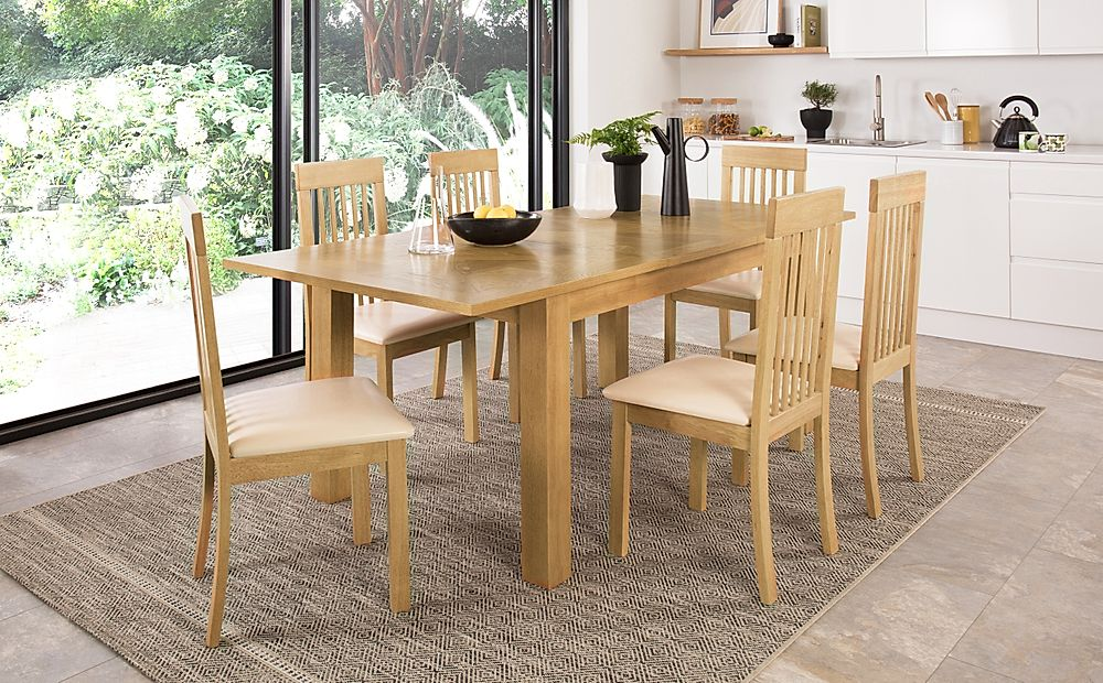 Madison 150-200cm Oak Extending Dining Table with 4 Oxford Chairs (Ivory Leather Seat Pad)