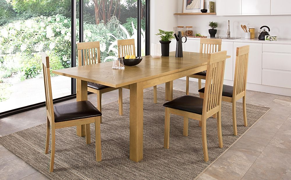 Madison 180-230cm Oak Extending Dining Table with 4 Oxford Chairs (Brown Leather Seat Pad)