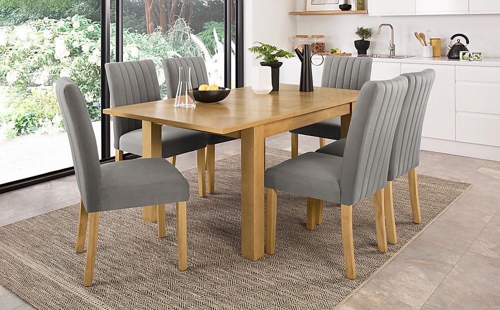 Madison 120-170cm Oak Extending Dining Table with 4 Salisbury Grey Velvet Chairs