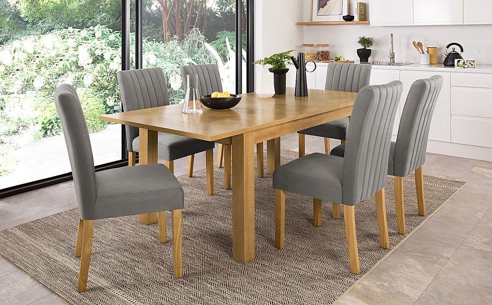 Madison 150-200cm Oak Extending Dining Table with 4 Salisbury Grey Velvet Chairs
