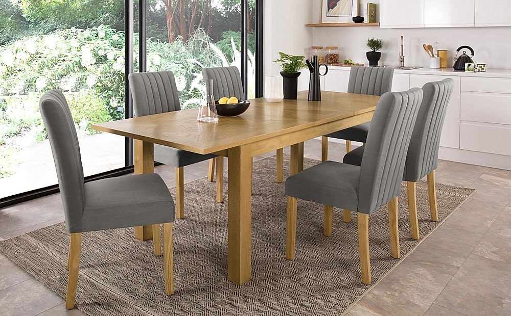 Madison 180-230cm Oak Extending Dining Table with 4 Salisbury Grey Velvet Chairs