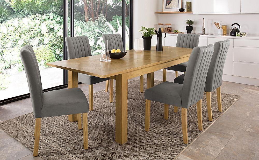 Madison Oak 180-230cm Extending Dining Table with 8 Salisbury Grey Velvet Chairs