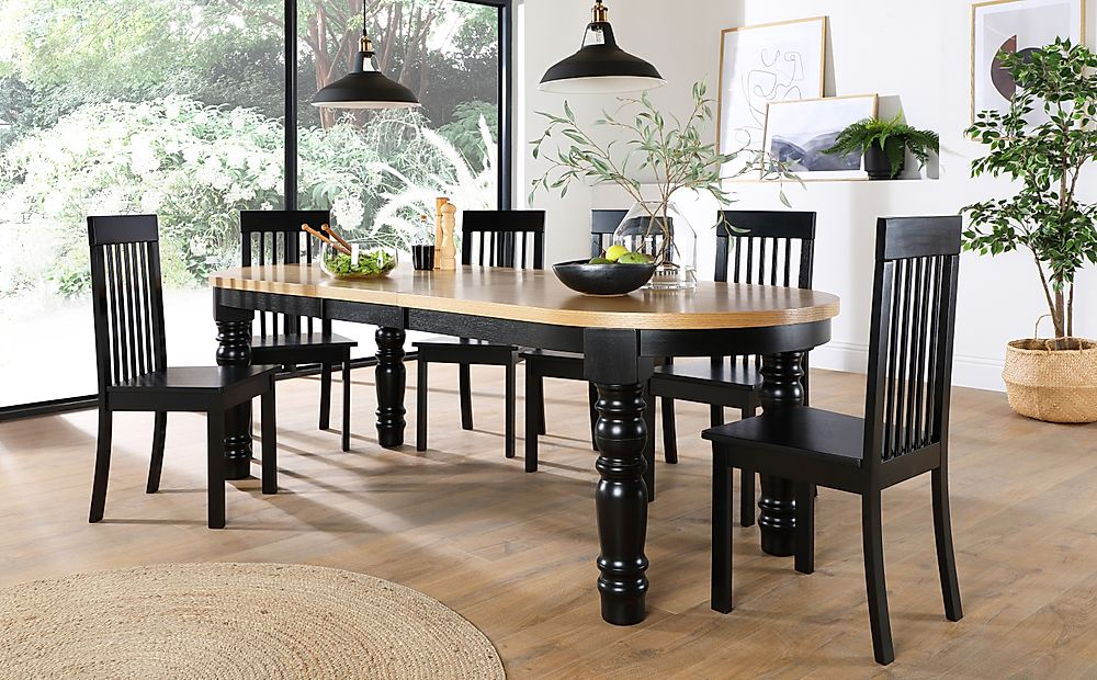 Manor Oval Painted Black and Oak Extending Dining Table with 8 Oxford Black Chairs
