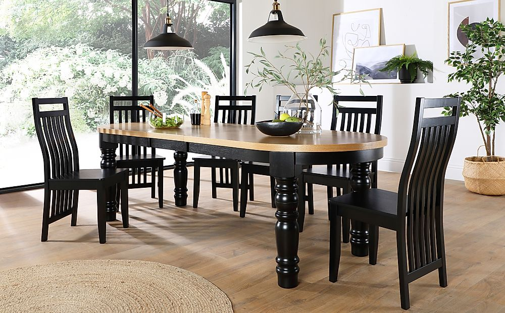 Manor Oval Painted Black and Oak Extending Dining Table with 8 Java Black Chairs