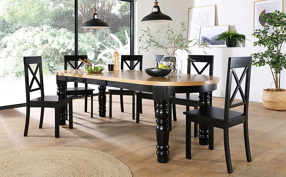 Manor Oval Painted Black and Oak Extending Dining Table with 6 Kendal Black Chairs