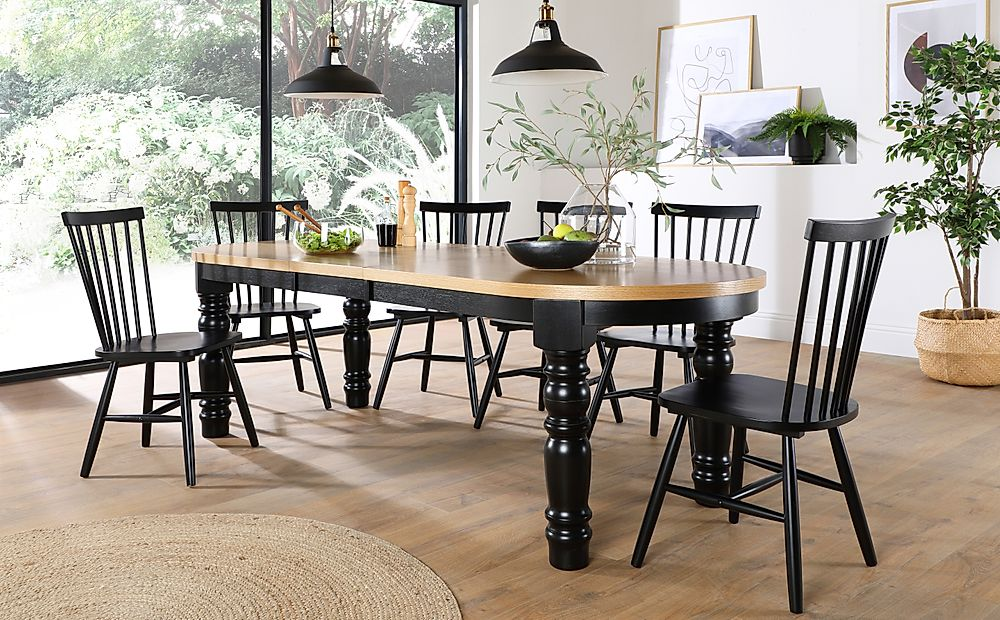 Manor Oval Painted Black and Oak Extending Dining Table with 6 Pendle Black Chairs