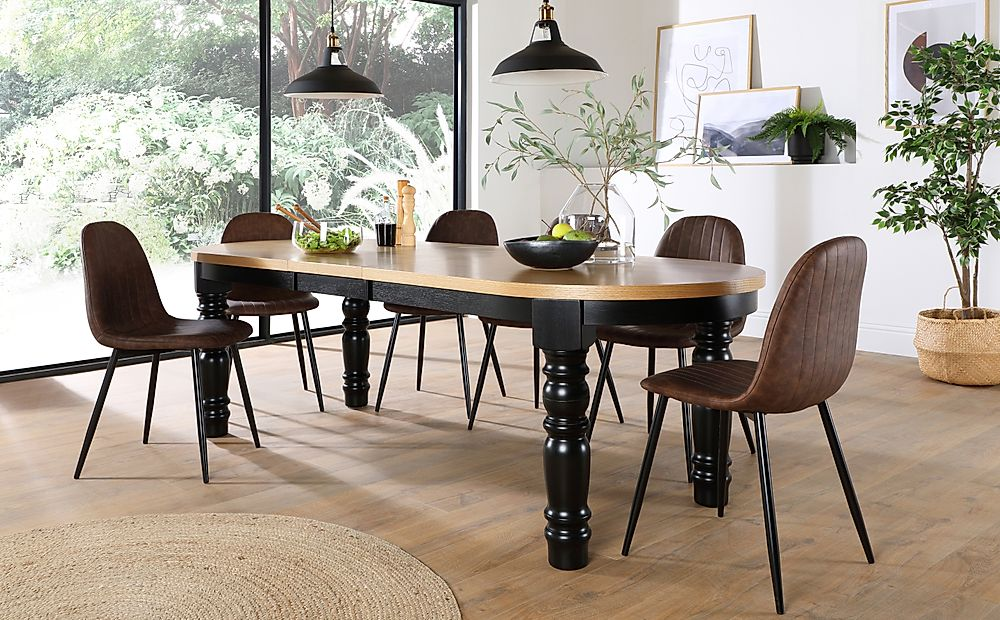 Manor Oval Painted Black and Oak Extending Dining Table with 8 Brooklyn Brown Leather Chairs