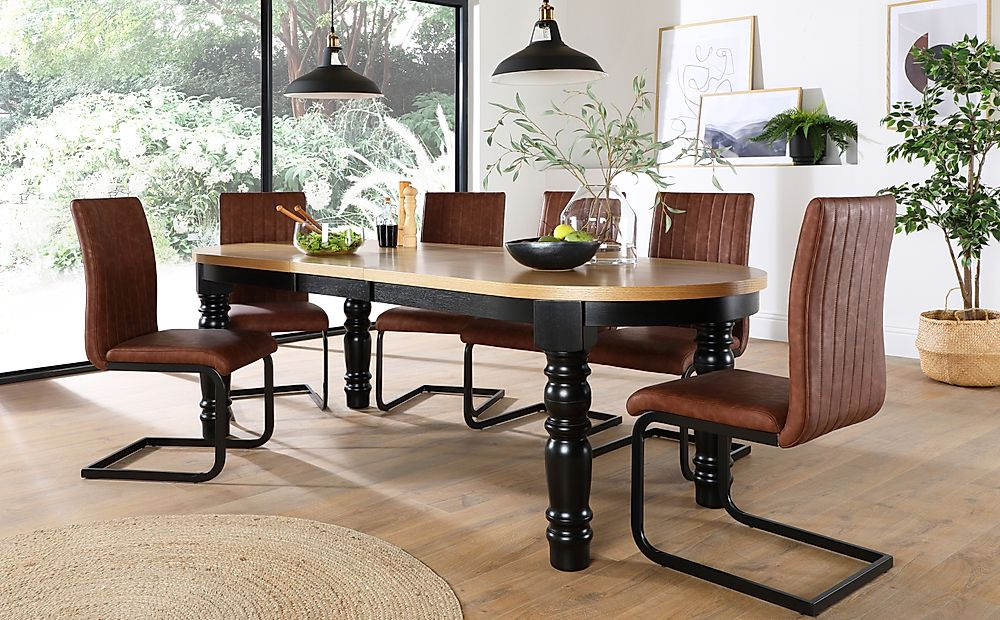 Manor Oval Painted Black and Oak Extending Dining Table with 8 Perth Tan Leather Chairs (Black Legs)