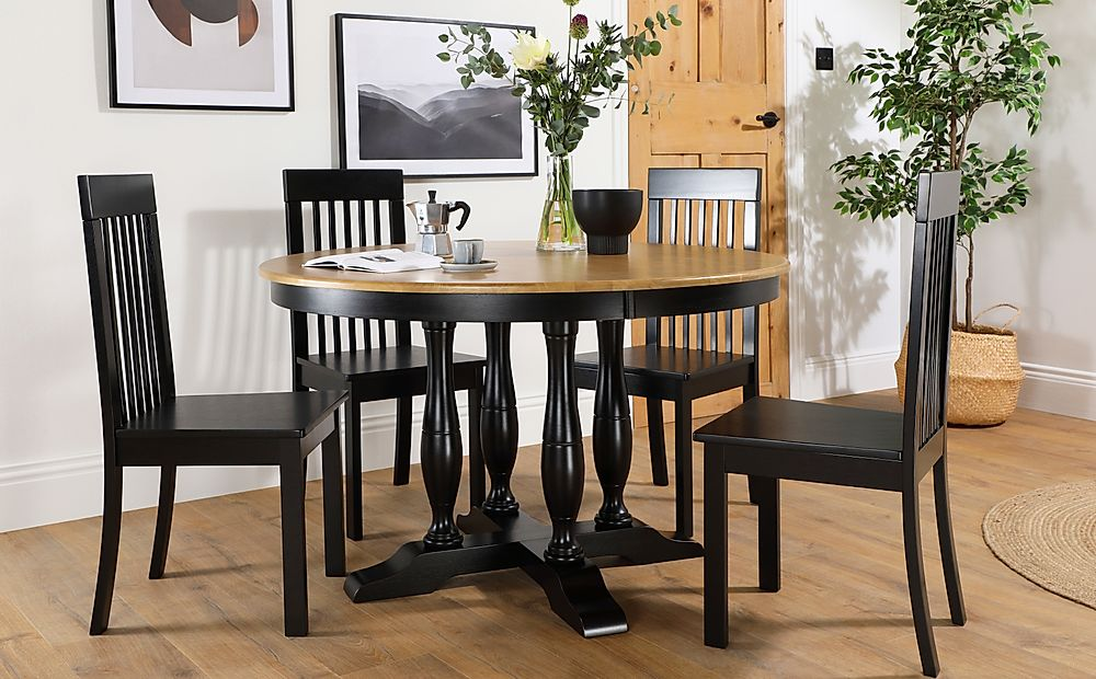 Highgrove Round Painted Painted Black and Oak Dining Table with 4 Oxford Black Chairs