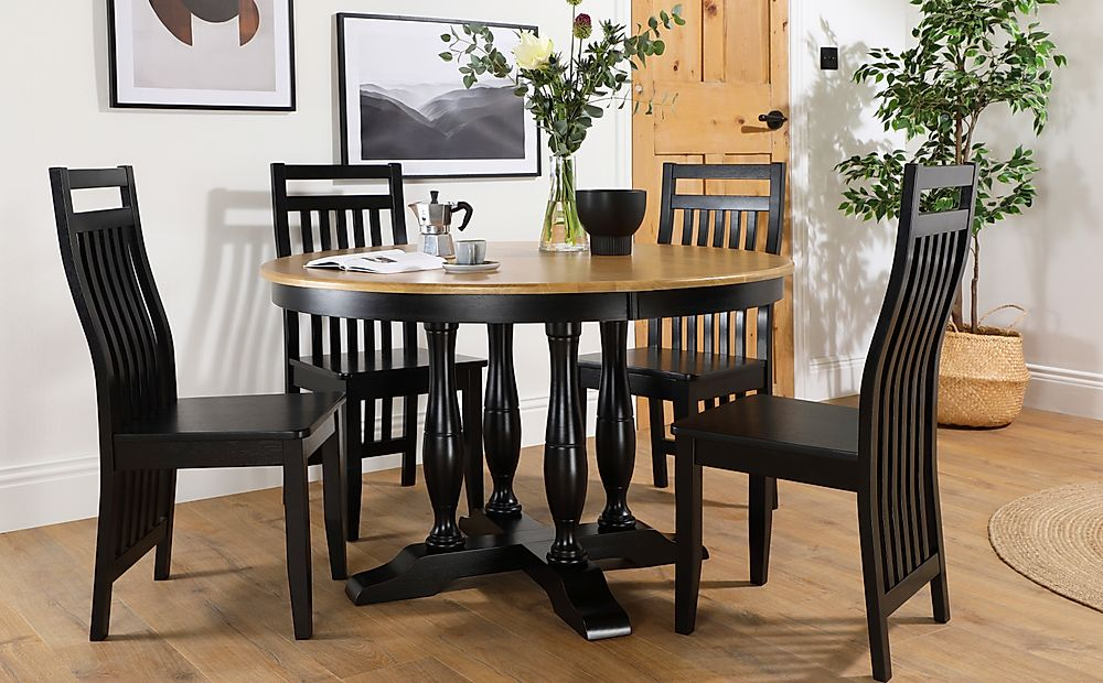 Highgrove Round Painted Painted Black and Oak Dining Table with 4 Java Black Chairs