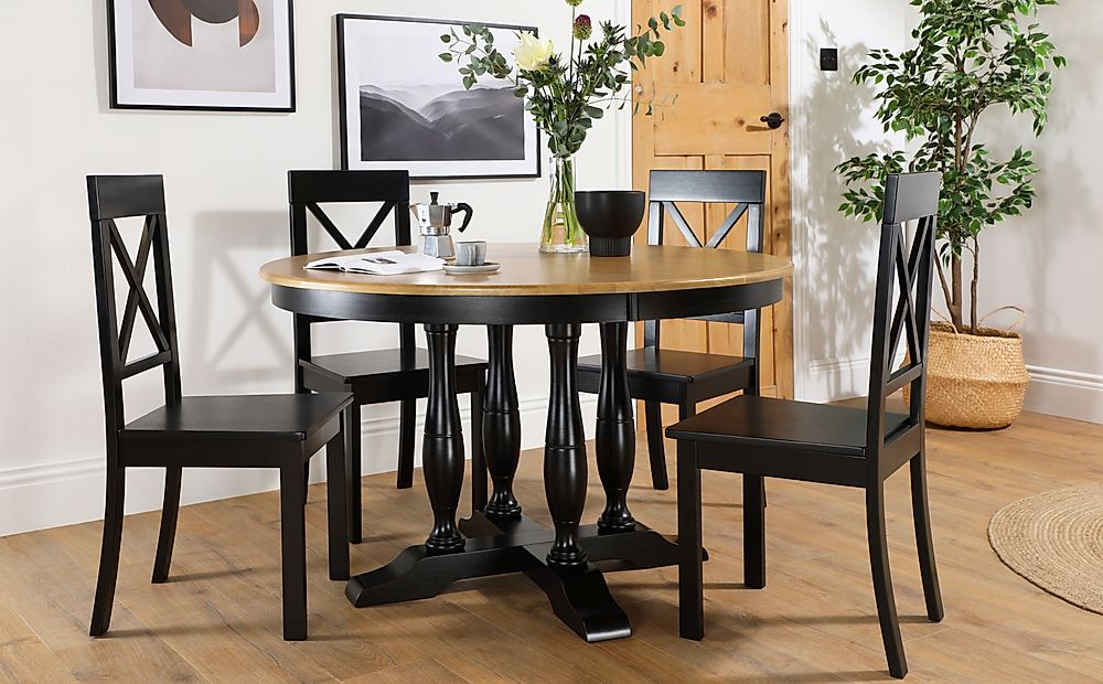 Highgrove Round Painted Painted Black and Oak Dining Table with 4 Kendal Black Chairs