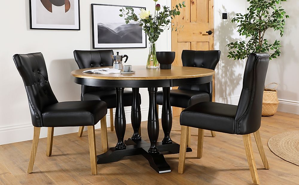Highgrove Round Painted Painted Black and Oak Dining Table with 4 Bewley Black Leather Chairs (Oak L