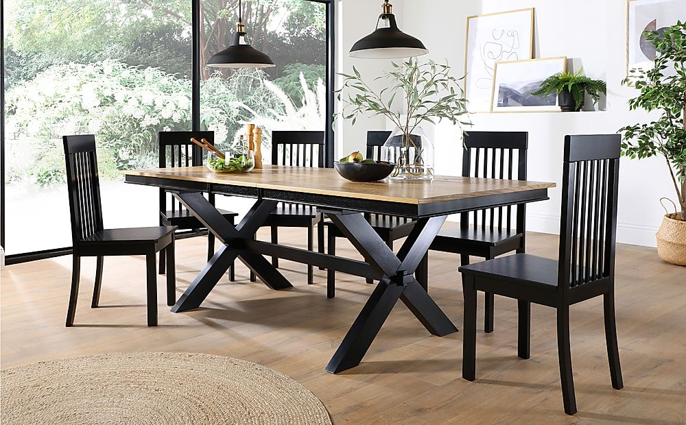 Grange Painted Black and Oak Extending Dining Table with 8 Oxford Black Chairs