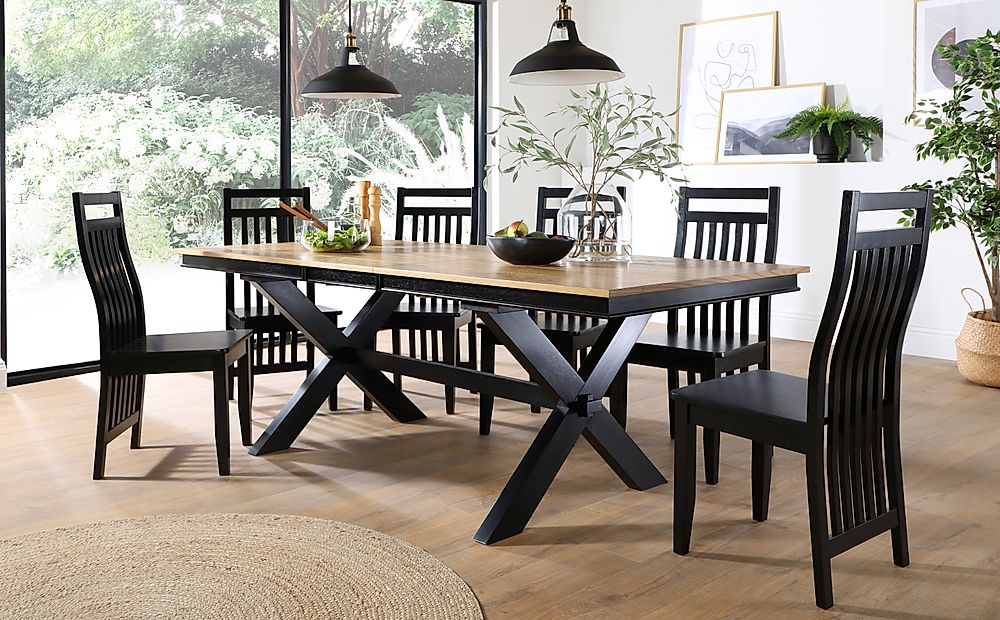 Grange Painted Black and Oak Extending Dining Table with 8 Java Black Chairs
