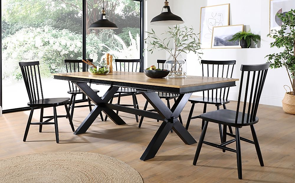 Grange Painted Black and Oak Extending Dining Table with 8 Pendle Black Chairs
