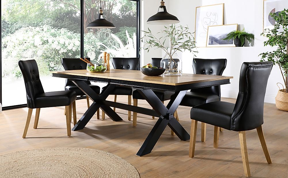 Grange Painted Black and Oak Extending Dining Table with 8 Bewley Black Leather Chairs (Oak Leg)