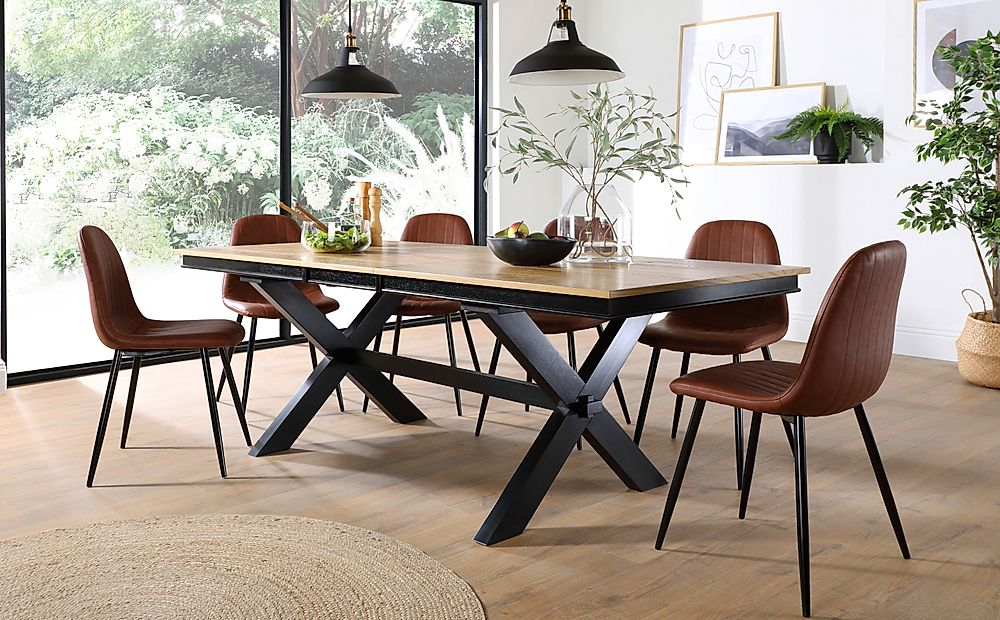 Grange Painted Black and Oak Extending Dining Table with 6 Brooklyn Tan Leather Chairs (Black Legs)