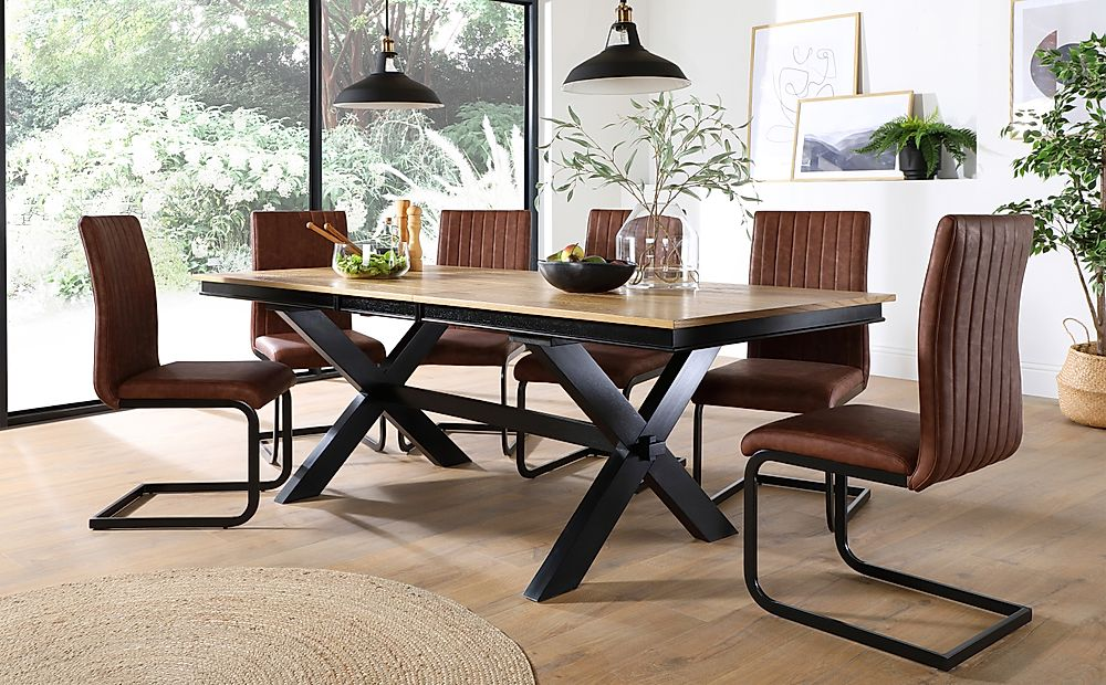 Grange Painted Black and Oak Extending Dining Table with 8 Perth Tan Leather Chairs (Black Leg)