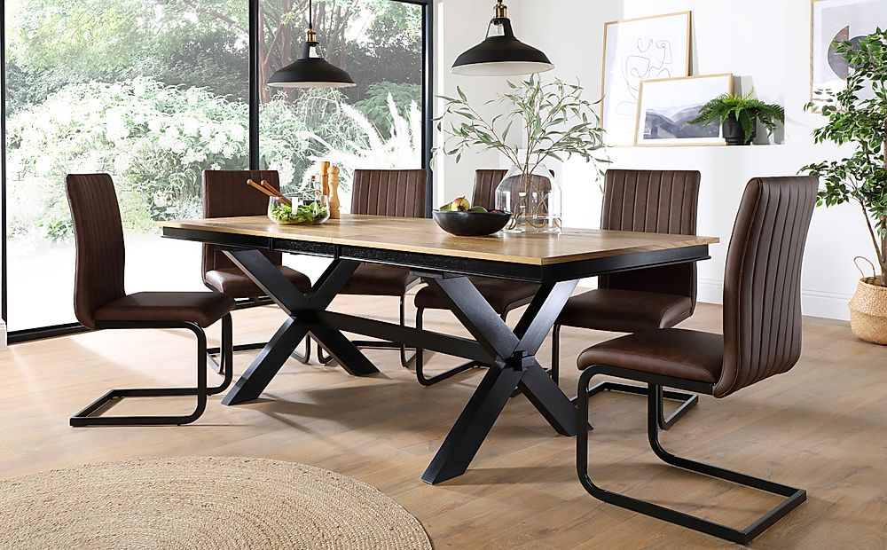 Grange Painted Black and Oak Extending Dining Table with 4 Perth Vintage Brown Leather Chairs