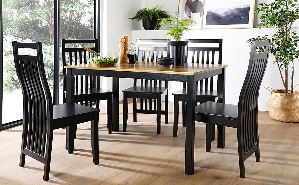Milton Painted Black and Oak Dining Table with 4 Java Black Chairs