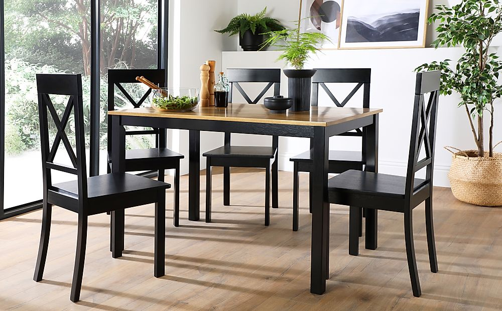 Milton Painted Black and Oak Dining Table with 4 Kendal Black Chairs