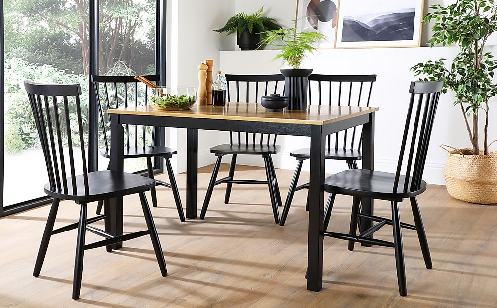 Milton Painted Black and Oak Dining Table with 6 Pendle Black Chairs