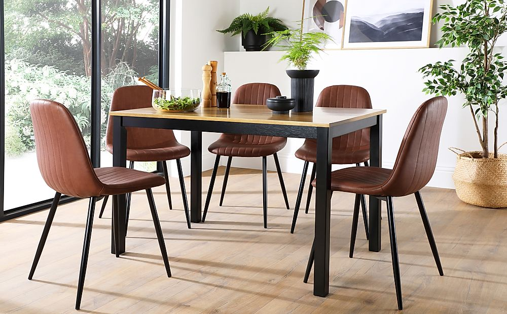 Milton Painted Black and Oak Dining Table with 4 Brooklyn Tan Leather Chairs (Black Legs)