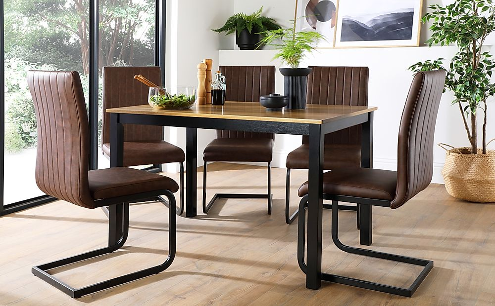 Milton Painted Black and Oak Dining Table with 6 Perth Vintage Brown Leather Chairs (Black Legs)