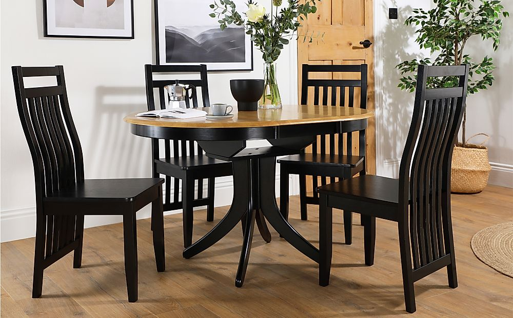 Hudson Round Painted Black and Oak Extending Dining Table with 4 Java Black Chairs