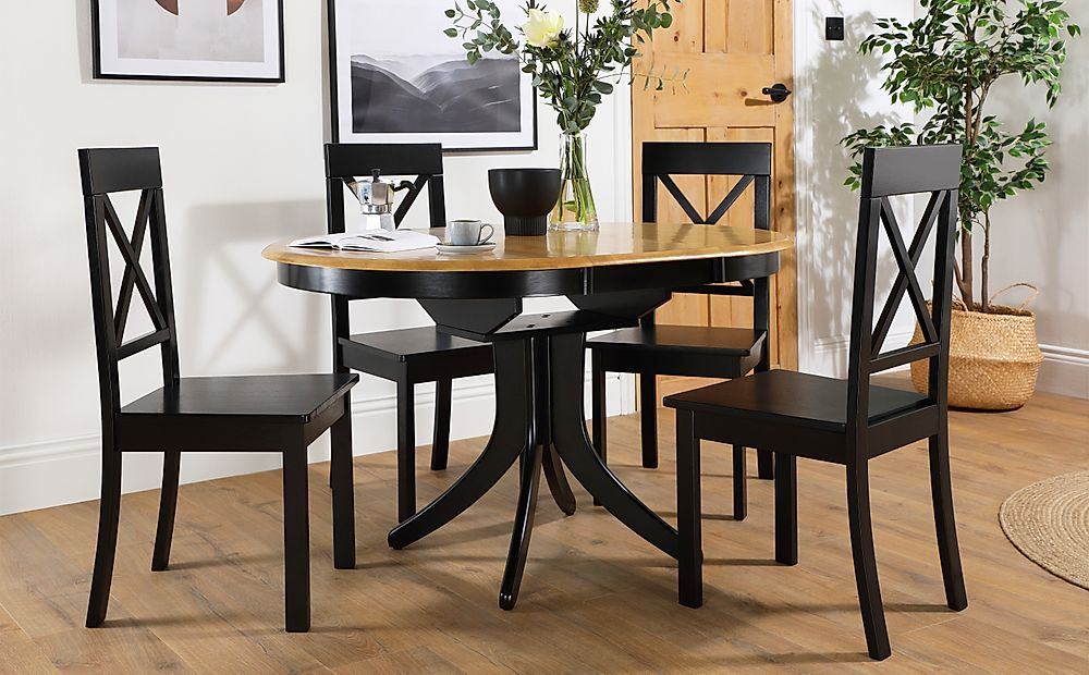 Hudson Round Painted Black and Oak Extending Dining Table with 6 Kendal Black Chairs