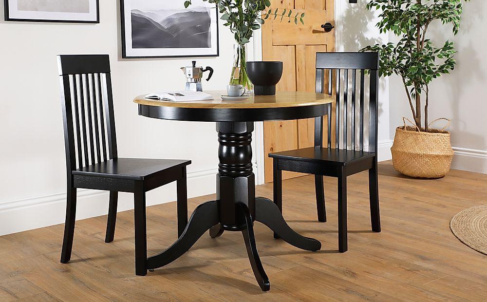 Kingston Round Painted Black and Oak Dining Table with 2 Oxford Black Chairs