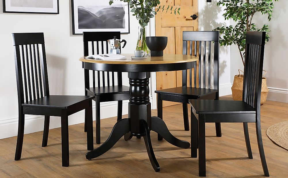 Kingston Round Painted Black and Oak Dining Table with 4 Oxford Black Chairs