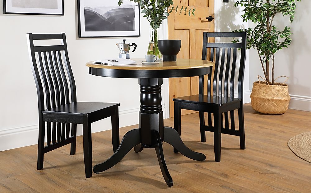 Kingston Round Painted Black and Oak Dining Table with 2 Java Black Chairs