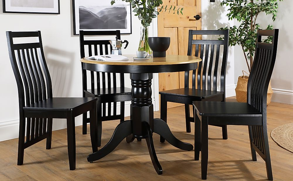 Kingston Round Painted Black and Oak Dining Table with 4 Java Black Chairs