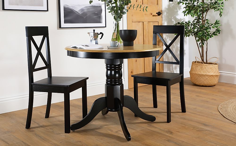 Kingston Round Painted Black and Oak Dining Table with 2 Kendal Black Chairs