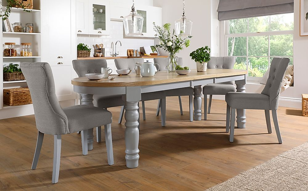 Manor Oval Painted Grey and Oak Extending Dining Table ...