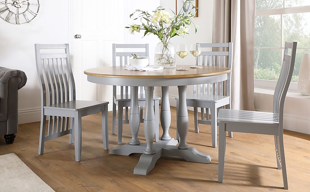 Highgrove Round Painted Grey and Oak Wood Dining Table with 4 Java Grey Chairs