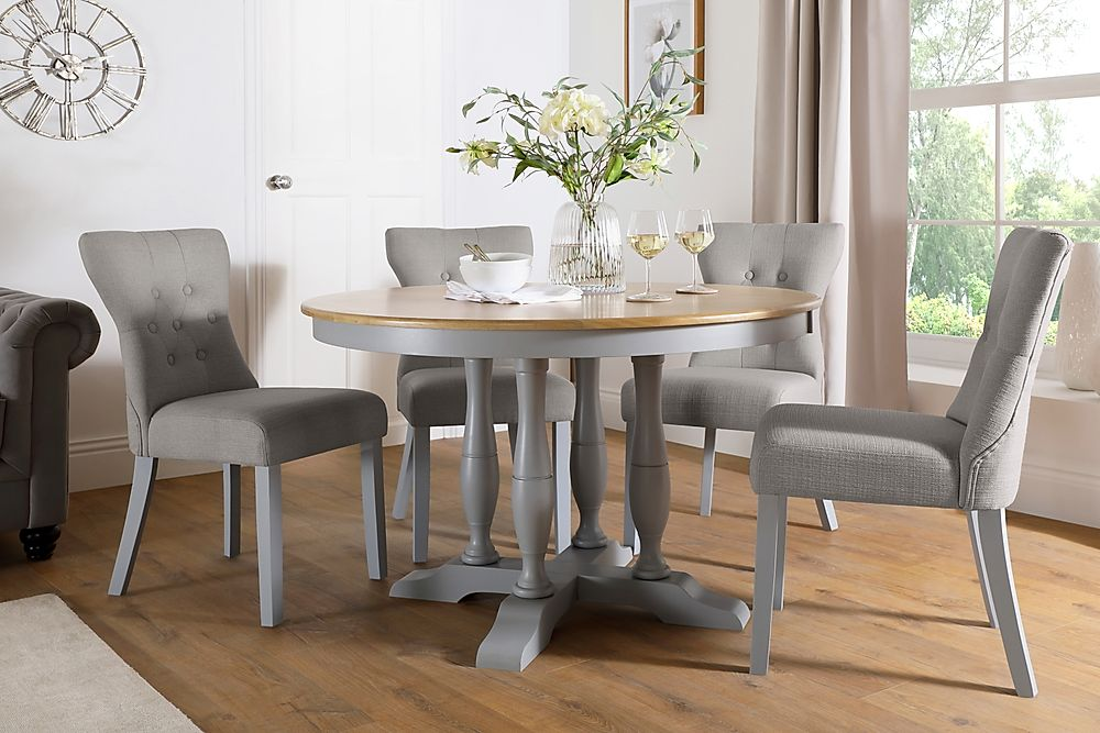 Highgrove Round Painted Grey and Oak Dining Table with 4 Bewley Light Grey Fabric Chairs
