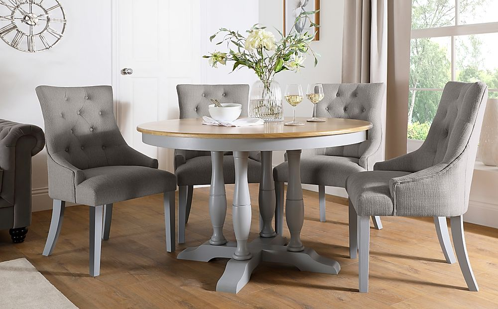 Highgrove Round Painted Grey and Oak Dining Table With 4 Duke Light Grey Fabric Chairs