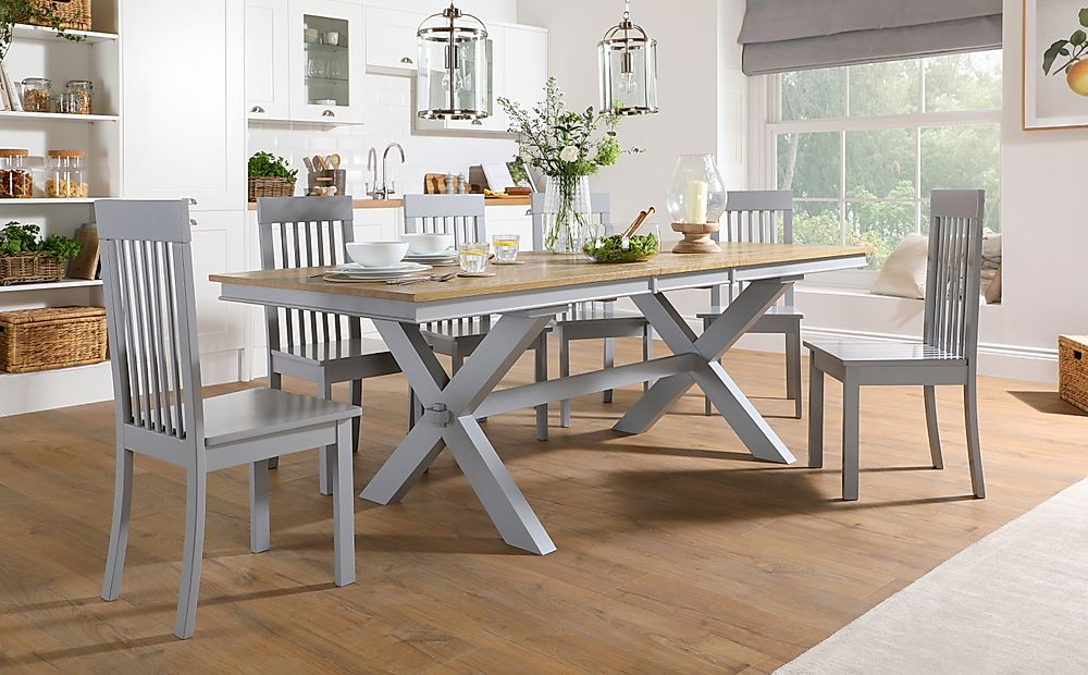 Grange Painted Grey and Oak Extending Dining Table with 6 Oxford Grey Chairs