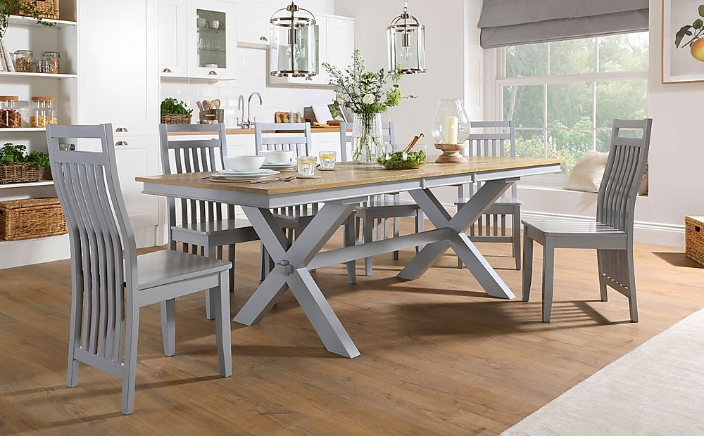 Grange Painted Grey and Oak Extending Dining Table with 8 Java Grey Chairs